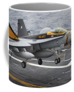 N Fa-18f Super Hornet Lands Aboard Coffee Mug