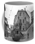 Narrow Streets And Streetcar In Lisbon Coffee Mug