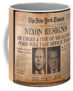 Nixon Resigns: Newspaper Coffee Mug