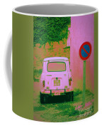No Parking Sign With Pink Car Coffee Mug