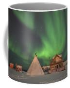 Northern Lights Above Village Coffee Mug