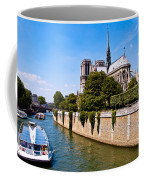 Notre Dame Cathedral Along The Seine River Coffee Mug