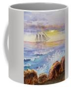 Ocean Waves And Sailing Ship Coffee Mug