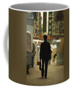 Office Worker With A Briefcase Walks Coffee Mug by Justin Guariglia