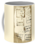 Old Entry And Exit Travel Stamps Coffee Mug