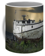 Old Fishing Boat On Shore With Storm Moving In Coffee Mug