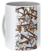 Old Keys And Watch Dails Coffee Mug