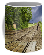Old Man Walks Along Train Tracks Coffee Mug