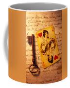 Old Playing Card And Key Coffee Mug