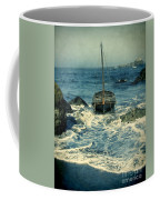 Old Sailing Vessel Near The Rocky Shore Coffee Mug