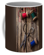 Old Scissors And Spools Of Thread Coffee Mug