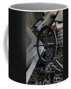 Old Ships Wheel, Chains And Wood Planks Coffee Mug