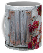 Old Window With Red Leaves Coffee Mug