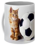 Orange And White Kitten With Soccor Ball Coffee Mug