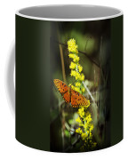 Orange Butterfly On Yellow Wildflower Coffee Mug