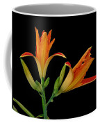 Orange Lily On Black Coffee Mug