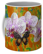 Orchids With Speckled Butterfly Coffee Mug