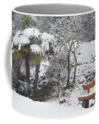 Palm Tree And A Bench With Snow Coffee Mug