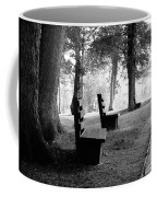 Park Bench In Black And White Coffee Mug