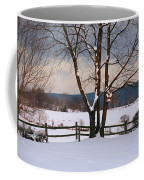 Pastoral View Of A Farm Covered In Snow Coffee Mug