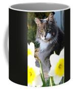 Peanut The Cat And Jonquils Coffee Mug