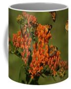 Pearly Crescentpot Butterflies Landing On Butterfly Milkweed Coffee Mug