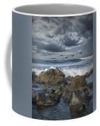Pelicans Over The Surf On Coronado Coffee Mug