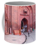 People Entering The Entrance Gate To The Red Colored Red Fort In New Delhi In India Coffee Mug