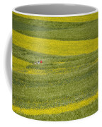 People In A Rapeseed Field Coffee Mug by David Evans