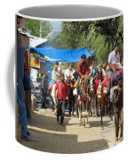 People On Horseback And On Foot Making The Climb To The Vaishno Devi Shrine In India Coffee Mug