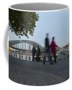 People Walk Along The Rhine River Coffee Mug