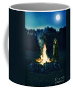 Person Standing By A Bonfire In The Moonlight Coffee Mug