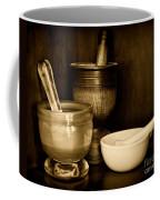 Pharmacy - Mortars And Pestles - Black And White Coffee Mug