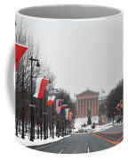Philadelphia Parkway In The Snow Coffee Mug