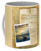 Photo Of Boat On The Sea With Bible Verse Coffee Mug