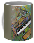 Piano Aqua Wall - Cropped Coffee Mug by Anita Burgermeister