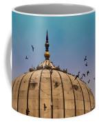 Pigeons Around Dome Of The Jama Masjid In Delhi In India Coffee Mug