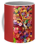 Pile Of Buttons With Scissors  Coffee Mug