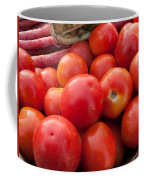 Pile Of Red Luscious Tomatoes Along With Carrots On A Vegetable Basket Coffee Mug