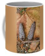 Pine Cones And Leaves Coffee Mug by Deborah Benoit