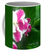 Pink African Violets And Leaves Coffee Mug