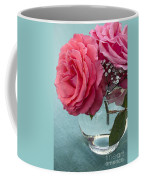 Pink And Aqua Roses Coffee Mug
