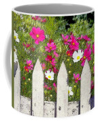 Pink Cosmos Flowers And White Picket Fence Coffee Mug