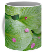 Pink Flower Petals Resting On Dew Coffee Mug