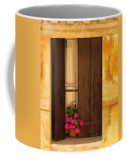 Pink Geraniums Brown Shutters And Yellow Window In Italy Coffee Mug
