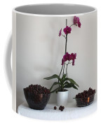 Pink Phalaenopsis Orchid And Sour Cherries Coffee Mug