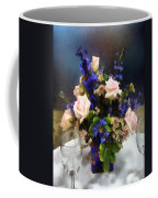 Pink Roses And Purple Delphinium Coffee Mug