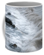 playing with waves 3 - Mediterranean sea foam playing with black stones in cala mesquida - menorca Coffee Mug