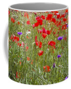 Poppies And Purple Flowers Coffee Mug