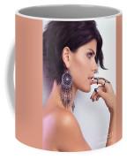 Portrait Of A Woman Wearing Jewellery Coffee Mug